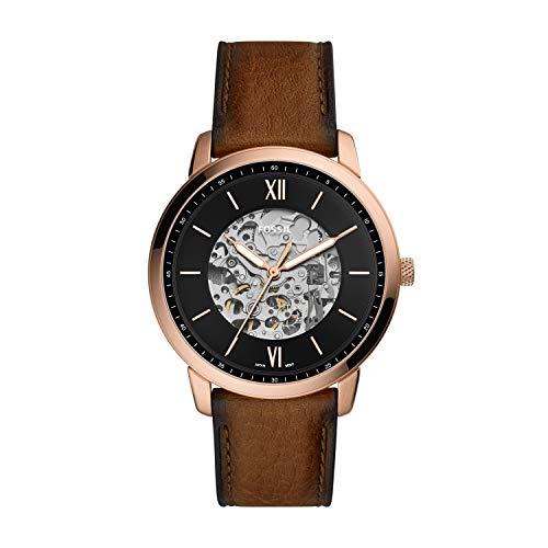 Fossil - Reloj automático de Acero Inoxidable para Hombre Neutra de Tres Manos, Tono Dorado Rosa, ME3195