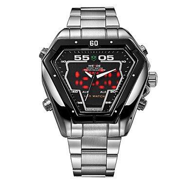 XKC-watches Herrenuhren, Weide Männer Voller Stahl Sportuhr Quarz Führte analoge Unregelmäßige Form Armbanduhr (Farbe : White/Sliver, Großauswahl : Einheitsgröße)