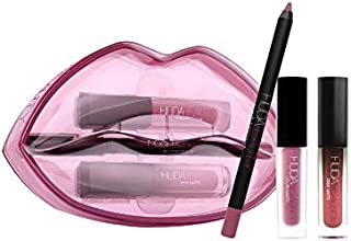 Huda Beauty Matte & Cream Lip Set! Matte Lip Liner, Liquid Matte Lipstick, and Matte Cream Lipstick with Stunning Lip Shaped Case! Highly Pigmented, Matte Finished, And Kiss-Proof! (Trophy Wife)