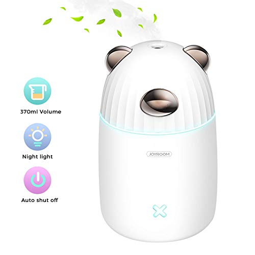 joyroom USB Small Humidifier, 370ml Mini Portable Humidifier with 7-Color LED Night Light, Personal Desktop Humidifier for Baby Bedroom Travel Office Home, Auto Shut-Off, 2 Mist Modes