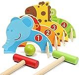 LSWY Mini Set de Croquet, Juego de Croquet de Dibujos Animados de Madera Creativo, Pelota Deportiva al Aire Libre Juegos Familiares para niños Juguetes educativos