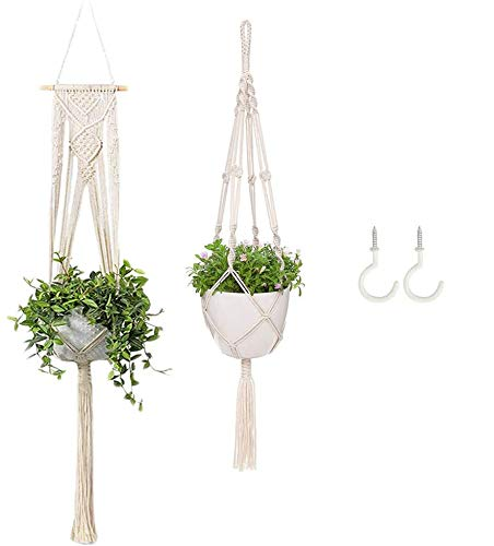 Cocostar Macrame Plant Hangers,Boho Outdoor Indoor Hanging Plants Holder Hanging Planter Basket Flower Pot Holder for Home Decor Gift Idea,Decorations (Set of 2 with 2Pcs Hooks)