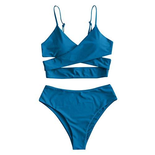 Bikini para mujer con vendaje para mujer, color negro, sexy, de cintura alta, control de barriga, traje de baño de dos piezas para mujer brasileña, color azul, talla L: