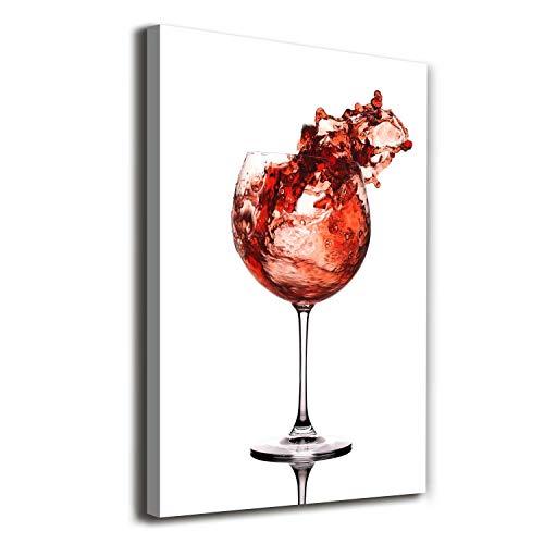 Tulup Cuadro en Lienzo - 70x100 - Pintura - impresión Decorativa para la Pared - Imagen Decorativa - Impresión de Lienzo - Comidas Y Bebidas - Rojo - Una Copa De Vino