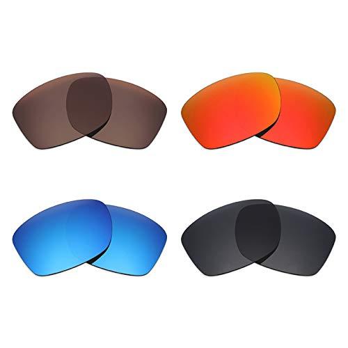 Mryok Lot de 4 paires de lentilles de rechange polarisées pour lunettes de soleil Oakley Jupiter Squared Noir furtif Rouge feu Bleu glace Bronze
