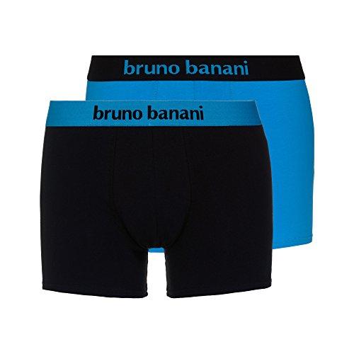 bruno banani Herren 2er Pack Flowing Shorts, Mehrfarbig (aquablau//Schwarz 2150), Large