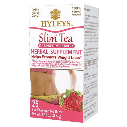 Hyleys Slim Tea Raspberry Flavor - Weight Loss Herbal Supplement Cleanse and Detox - 25 Tea Bags (1 Pack)