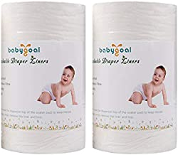 Babygoal Baby Cloth Diaper Liners, Flushable Biodegradable Viscose Bamboo Liners for Cloth Diaper Nappy 2 Pack(200 Sheets) 2BBT01