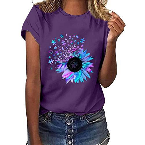 Camiseta de verano para mujer con estampado de girasol, manga corta, informal, cuello redondo, blusa femenina, adolescente, niña morado XL