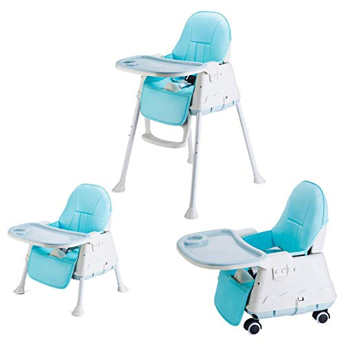 SYGA High Chair for Baby KidsSafety Toddler Feeding Booster Seat Dining Table Chair with Wheel and Cushion (Blue)