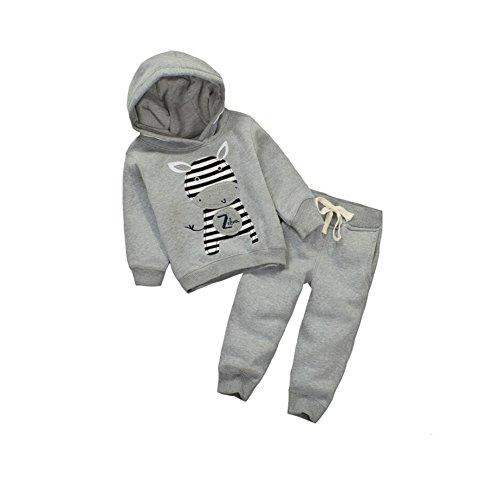 CuteOn Tout-Petits Bébés Garçons Filles Chaud Hoodies Hiver Sweat-Shirt Top + Pantalons Outfits Pullover Survêtement Sport Suit Zebra 2-3 Années