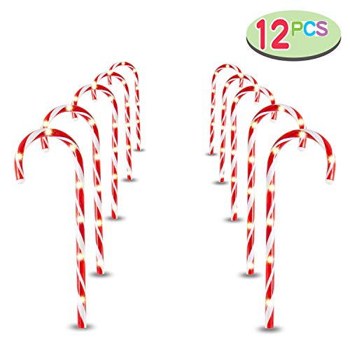 Joiedomi 17' Christmas Candy Cane Pathway Markers, Set of 12 Christmas Pathway Lights with 72 Warm White Lights for Indoor and Outdoor Christmas Decorations