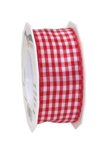 PRÄSENT VICHY Geschenkband mit Drahtkante rot / weiß, 20 m Dekoband zum Verzieren & Basteln, 40 mm Breite, kariertes Band für bunte Dekos & Geschenkverpackungen, zu feierlichen Anlässen