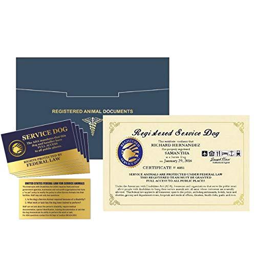 WORKINGSERVICEDOG.COM Official Registered Service Dog Certificate – Customized Certificate – Duplicate Copy - Registered Animal Documents Certificate Folder – Five Service Dog Law Handout Cards