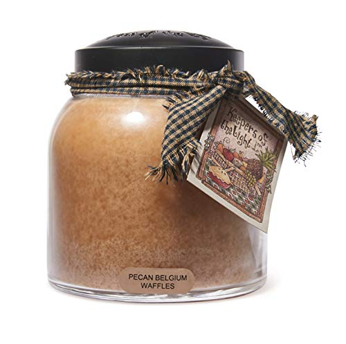 A Cheerful Giver - Pecan Belgium Waffles Papa Scented Glass Jar Candle (34oz) with Lid & True to Life Fragrance Made in USA