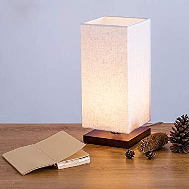 Minerva Wood Table Lamp - Solid Fabric Shade Bedside Desk Lamps for Bedroom, Living Room, Study (Square)