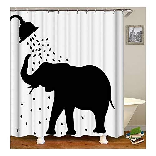Aeici Duschvorhang Badender Elefant Bad Vorhang Textil Polyester Bad Vorhang Mehrfarbig 150X200Cm