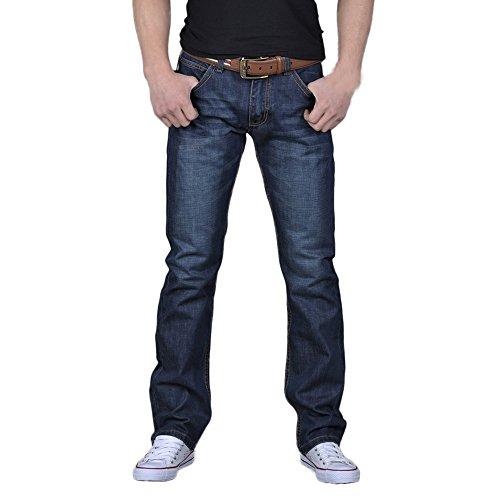 Innerternet Herren Lässig Gewaschene Jeanshose Jeans-Hose Basic Washed Regular Fit Straight Cut - Stretch