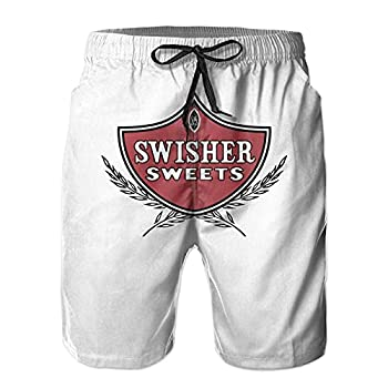 Bokloucayyy Swisher Sweets Men Relaxed Beach Shorts Quick Dry Vacation Beach Pants with Pockets White