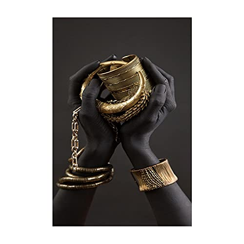 BLLXMX Cuadros en Lienzo Pulsera de Mano de Oro Negro Pintura en Lienzo sobreArte Africano Cuadros Carteles Impresiones Cuadro de Pared Decoración para el hogar 27.6'x35.4 (70x90cm) Sin Marco