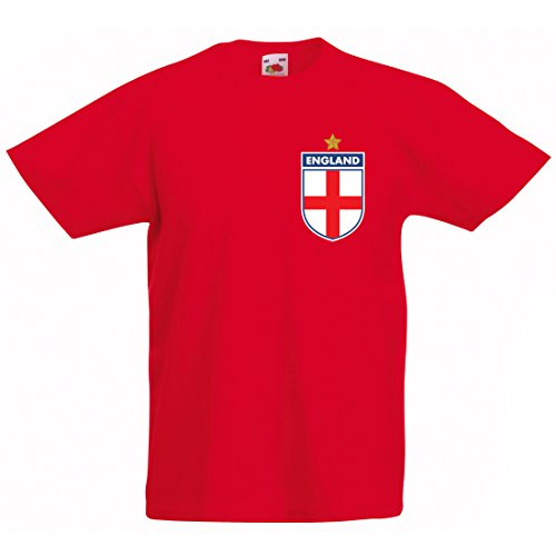 Print Me A Shirt Kit Camiseta Estilo Retro de Inglaterra Personalizable para Niños, Color Rojo, Camiseta Vintage Inglaterra