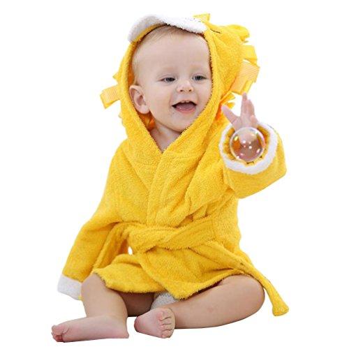YOUJIA YOUJIA kuscheliger Kapuzenhandtuch Baby Frottee Bademantel Mit Tiermotiven Gelb