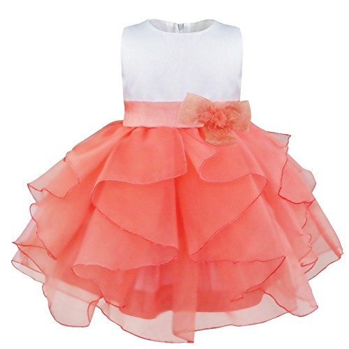 YiZYiF Blumenmädchenkleid mit Blume Brosche festlich Baby Mädchen Kleid Brautjungfernkleid Party...