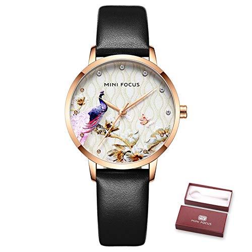 ZHEBEI Reloj de mujer impermeable azul reloj de cuero marca de lujo...