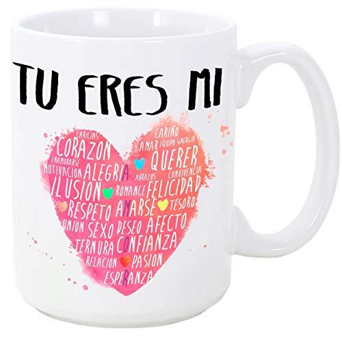 MUGFFINS Taza para Regalar a Enamorados/San Valentín - Tú Eres mi corazón - cerámica 350 ml - Tazas con Frases de Regalo para Novios/Novias. Anive