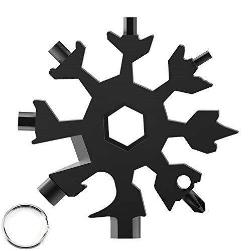 JL Comfurni Multifunctional Portable Wrench 18 in 1 Snowflake Multi Tool Stainless Steel Allen Key Keyring Gadgets Handy Tool for Outdoor Sports Camping and Travel Black