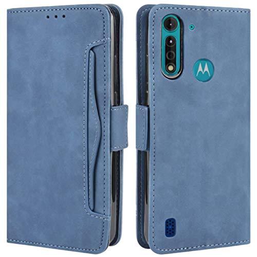 HualuBro Coque pour Motorola Moto G8 Power Lite, Housse à Rabat en Premium PU Cuir Flip Cover Case Antichoc Portefeuille Etui pour Motorola Moto G8 Power Lite Coque, Bleu