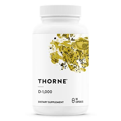 Thorne Research - Vitamina D-1000 - Suplemento de Vitamina D3 (1000 UI) para a saúde dos ossos e músculos - 90 Cápsulas
