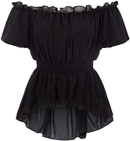 Women s Renaissance Peasant Outfit Irregular High Low Hem Shirts Tops Black S product image