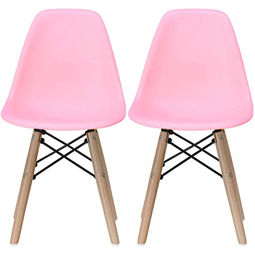 2xhome - Kids Size Plastic Toddler Chairs with Natural Wooden Dowel Legs, Pink (Set of 2)