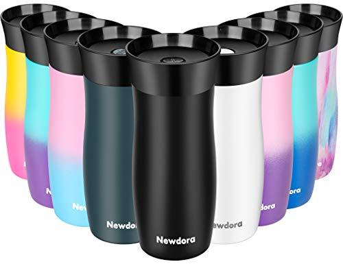 Newdora Travel Mug Kaffeebecher to go Thermobecher Reisebecher Edelstahl Isolierbecher Doppelwandiger Auslaufsicherer 360°-Trinköffnung, Easy Quick-Press-Verschluss, 380 ml, BPA Frei(Schwarz)