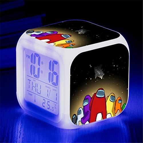 Game Figure Among us Luminous LED Alarm Clock, Colorful Flash Desk Light, Colorful Color Changing Square Clock, Bedroom Clock Action Model Toys for Kids Children Gift (C)