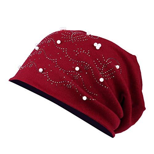 Kingko  ® Klassische Mütze Beanie Mütze mit Stern Nieten und Strass Applikation, Lochnieten, Unisex Jersey Mütze, Damen und Herren, Slouch Beanie aus Baumwolle (rot)