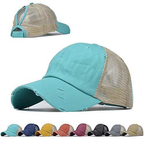 Vintage Pferdeschwanz Top Hüte für Frauen Baseball Caps High Messy Bun Hat Ponycaps Verstellbare Baseballkappe Mesh Rücken Trucker Hat - Blau - Einheitsgröße