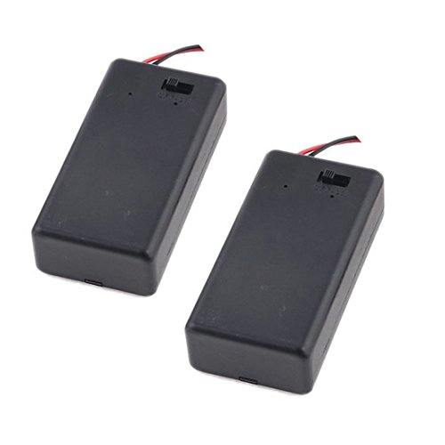 Nine to Nine 2 Pcs 9V Battery Holder with On Off Switch Cap Lead Wires (for 9V Batery)