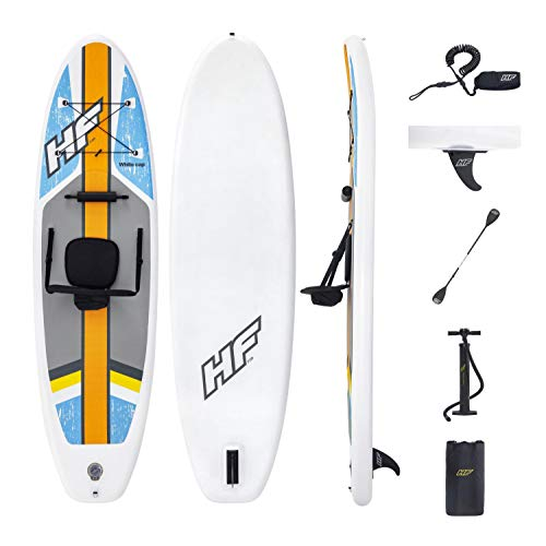 Hydro-Force White Cap Inflatable Stand Up Paddle Board, 10' x 32' x 4' | Inflatable SUP for Adults & Kids | Converts into Kayak | Complete Kit Includes Kayak Seat, Oar, Pump, Travel Bag, Ankle Leash
