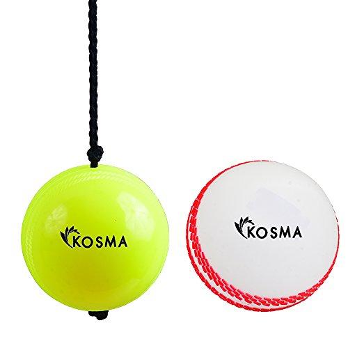 Kosma Set bestehend aus 2 Stück Cricket Ball Set (Hanging Ball für Cricket Practice mit Reaction String in gelber Farbe und Wind Ball White mit Read Seam)