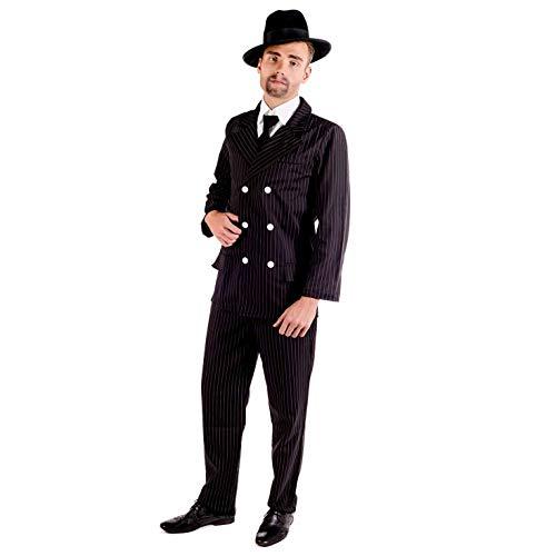Fun Shack Disfraz de mafioso de los años 20 para Hombre. Traje de gánster a Rayas, Talla L