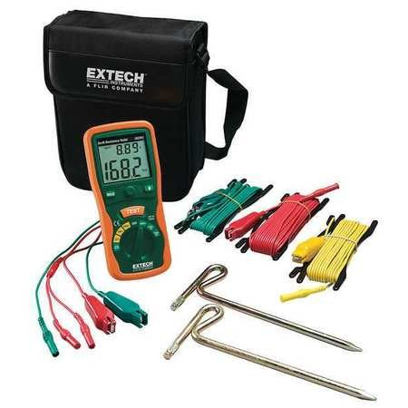 Extech Instruments 382252 Earth Ground Resistance Tester Kit, 7.9' x 3.6' x 2' Size