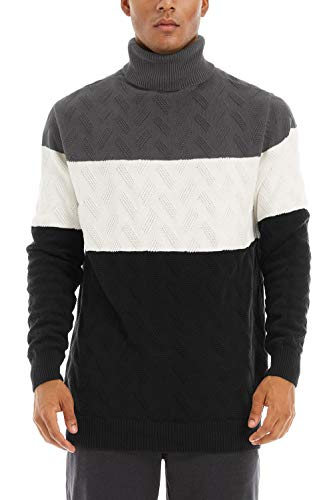 CRYSULLY Men's Thermal Cotton Color Block Sweater Basic Pullover Fall Sweater