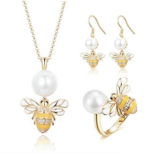 Kwaliteit 925 Sterling Zilver Zoetwater Parel Bijen Oorbellen Kettingen Sieraden Sets voor Vrouwen Bruiloft Sieraden