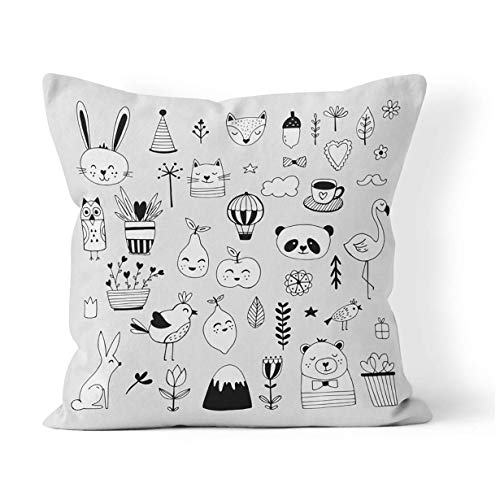 Hangdachang Modern Cute Animals and Nature Black White for Birthday Cushion Pillowcase Home Bedroom Decorative Cushion Case For Living Sofas Square Pillow Cover 18x18 Inch