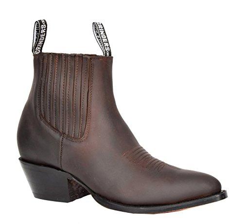 House of Luggage Herren Echtes Leder Chelsea Stiefel Cowboy Stil Spitz Zehe Knöchel Schuhe HLG06MAL (EU 42, Braun)