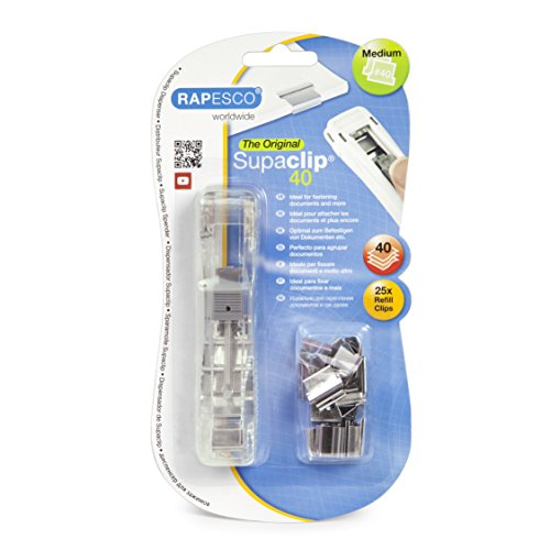 Rapesco RC4025SS Supaclip Dispensador de Supaclips con 25 Clips Plateados