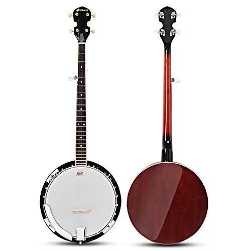 DREAMADE 5 Saiten Banjo mit Remo Trommelkopf, Banjo-Ukelele aus Sapeli-Holz, Western-Banjo mit Tasche Stimmgerät Reinigungstuch, Banjolele mit Abnehmbarer Abdeckung, Braun