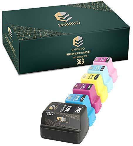 EMBRIIO 363 6X Cartuchos de Tinta Reemplazo para HP Photosmart 3110 3210 3210xi 3310 8250 C5180 C6150 D6160 C6180 C6280 D7160 C7180 D7260 C7280 D7460 C8180